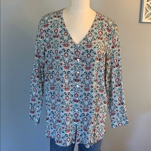 Beautiful floral J.Jill blouse large